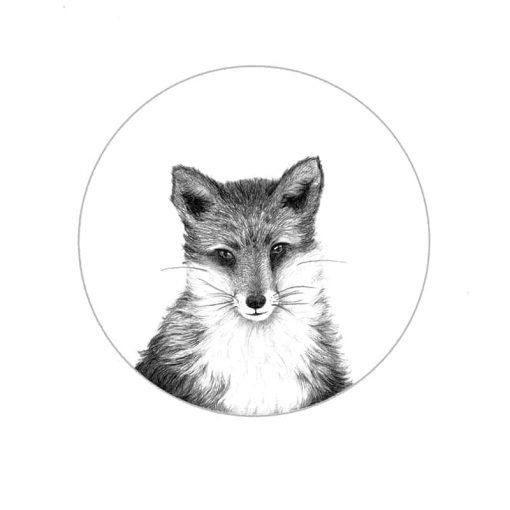 Fox Art Print close up